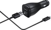car charger USB-C + data cable - black - dual - fast charging